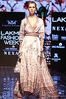 Ivory Printed Lehenga Skirt by Rajdeep Ranawat