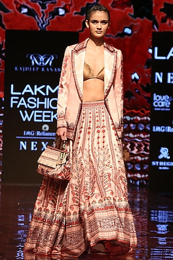 Flamingo Printed Lehenga Skirt by Rajdeep Ranawat