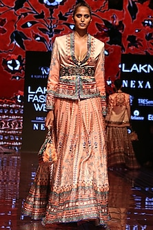 Apricot Printed Lehenga Skirt by Rajdeep Ranawat