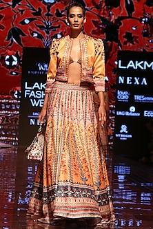 Mango Yellow Printed Lehenga Skirt by Rajdeep Ranawat