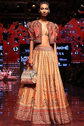 Red Printed & Embroidered Crop Jacket by Rajdeep Ranawat