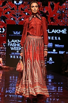 Red Printed Lehenga Skirt by Rajdeep Ranawat