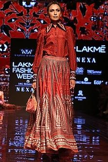 Red Printed Lehenga Skirt by Rajdeep Ranawat