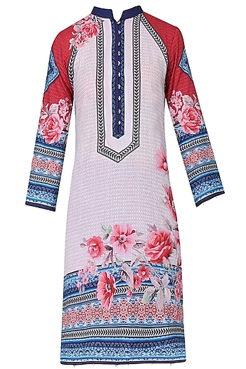 Ivory Floral Printed High Low Tunic by Rajdeep Ranawat