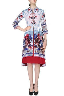 White Floral Printed High Low Kurta by Rajdeep Ranawat