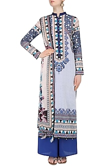 Ivory Digital Print Kurta Set With Palazzo Pants by Rajdeep Ranawat