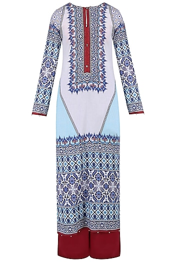 Aqua Blue Digital Print Kurta Set With Palazzo Pants by Rajdeep Ranawat