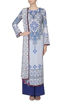 Ivory Floral Baroque Print Kurta Set With Palazzo Pants by Rajdeep Ranawat