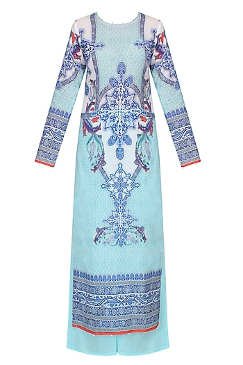 Aqua Blue Digital Print Kurta Set With Sky Blue Palazzo Pants by Rajdeep Ranawat