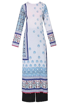 Ivory Lotus Print Kurta Set With Palazzo Pants by Rajdeep Ranawat
