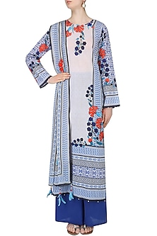 Ivory And Red Floral Printed Kurta Set With Palazzo Pants by Rajdeep Ranawat