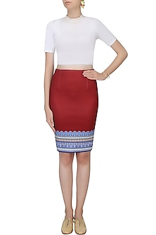 Maroon Digital Print Straight Fit Skirt by Rajdeep Ranawat