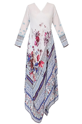 Ivory And Burgundy Floral Printed Asymmetric Kurta by Rajdeep Ranawat