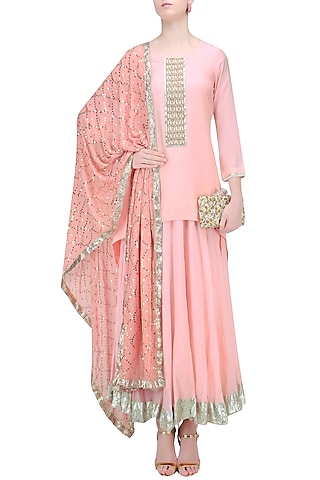 Nude Pink Pearl Embroidered High Low Kurta and Skirt Set by RAJH By Bani & Sheena