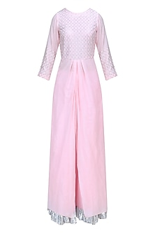 Powder Pink and Silver Work Kurta and Skirt Set by RAJH By Bani & Sheena