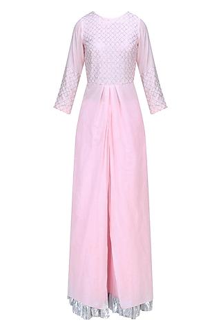 Powder Pink and Silver Work Kurta and Skirt Set by RAJH By Bani & Sheena