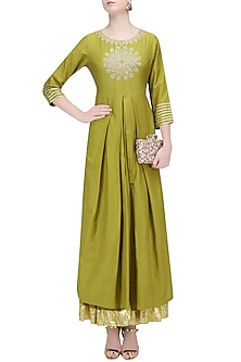 Olive Green Thread Embroidered Kurta and Skirt Set by RAJH By Bani & Sheena