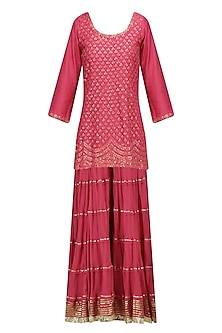 Red Floral Embroidered Short Kurta and Skirt Set by RAJH By Bani & Sheena