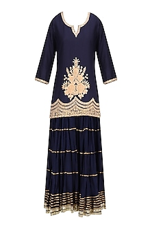 Navy Blue Floral Embroidered Short Kurta and Skirt Set by RAJH By Bani & Sheena