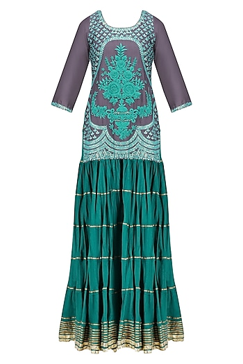 Charcoal Grey and Blue Floral Embroidered Short Kurta and Skirt Set by RAJH By Bani & Sheena