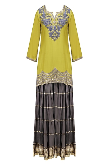 Charcoal Grey and Olive Green Floral Embroidered Short Kurta and Skirt Set by RAJH By Bani & Sheena