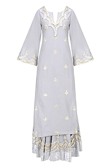 Light Grey, Gold and Silver Gota Patti Work Kurta and Skirt Set by RAJH By Bani & Sheena