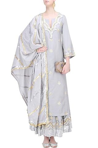 Light Grey, Gold and Silver Gota Patti Work Kurta and Skirt Set by RAJH By Bani & Sheena