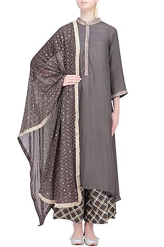 Charcoal Asymmetrical Long Kurta and Skirt Set by RAJH By Bani & Sheena
