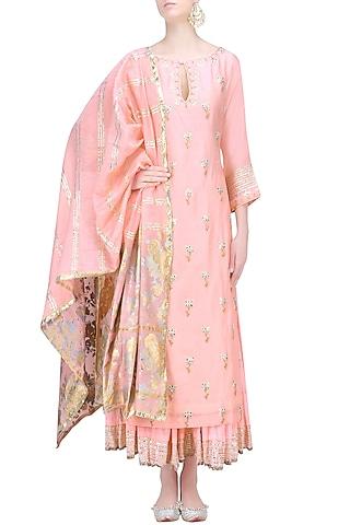 Nude Pink and Gold Gota Patti Work Kurta and Skirt Set by RAJH By Bani & Sheena