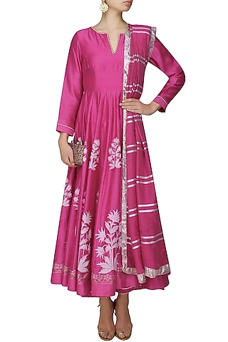 Fuschia pink block printed anarkali with golden gota striped dupatta and palazzo pants by RAJH By Bani & Sheena