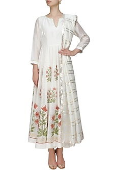 Ivory block printed floral motifs anarkali kurta and gota stripes dupatta by RAJH By Bani & Sheena