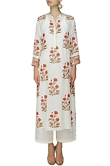 Ivory A line gulmohar motifs kurta with matching modal straight pants by RAJH By Bani & Sheena