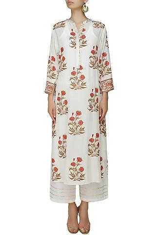 Ivory A line gulmohar motifs kurta with matching modal straight pants by RAJH By Bani & Sheena