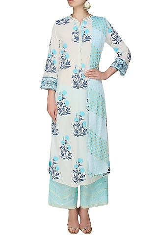 Ivory A line kurta with blue modal straight pants by RAJH By Bani & Sheena