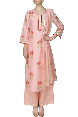 Light pink A line lotus motifs kurta with light pink straight pants and printed dupatta by RAJH By Bani & Sheena