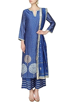 Blue A line kurta with straight pants and mokaish dupatta by RAJH By Bani & Sheena