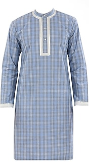 White striped and checkered kurta by Roar and Growl by Rajvi Mohan