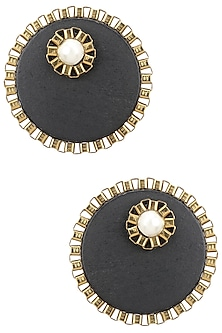 Black Wooden Pearl Embellished Studs by Rejuvenate Jewels