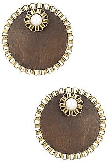Brown Wooden Pearl Embellished Studs by Rejuvenate Jewels