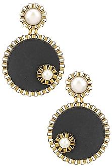 Black Wooden Pearl Embellished Round Earrings by Rejuvenate Jewels