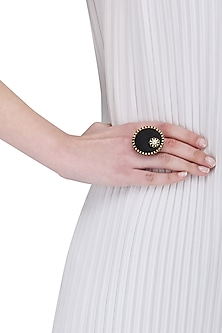 Black Wooden and Pearl Round Ring by Rejuvenate Jewels