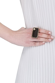 Brown Wooden and Pearl Rectangular Ring by Rejuvenate Jewels