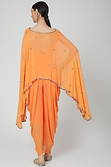 Orange Embroidered Jumpsuit With Cape by Rajat tangri