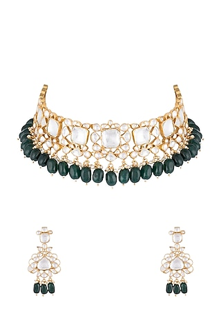 22Kt Gold Plated Emerald Bead & Pearl Necklace Set by Riana Jewellery