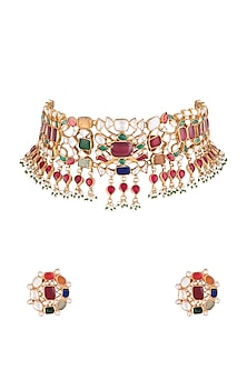 22Kt Gold Plated Navratna Necklace Set by Riana Jewellery