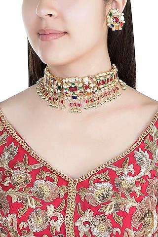 22Kt Gold Plated Navratna Necklace Set by Riana Jewellery