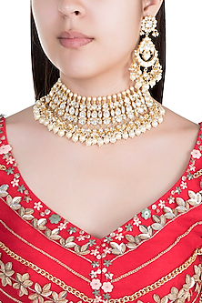 22Kt Gold Plated Jadtar Stone & Pearl Necklace Set by Riana Jewellery