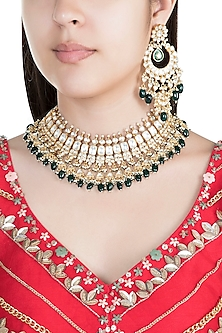 22Kt Gold Plated Emerald & Pearl Necklace Set by Riana Jewellery