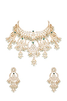 22Kt Gold Plated Pearl & Emerald Chand Pendant Necklace Set by Riana Jewellery