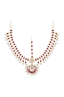 22Kt Gold Plated Stones & Pearl Mathapatti by Riana Jewellery